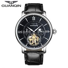 (59.99$)  Watch now - http://aixjs.worlditems.win/all/product.php?id=32794052134 - GUANQIN GJ16036 Top Brand Luxury Men Sport Tourbillon Automatic Mechanical Leather Wristwatch Moon Phase relogio masculino