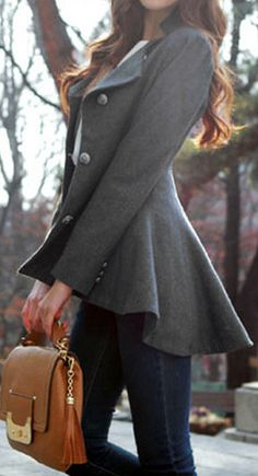 I love the tail flare of this jacket! Asymmetric Fit-and-flare Blazer - Grey
