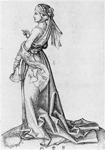 The First Foolish Virgin - Martin Schongauer Martin Schongauer, Rembrandt Art, Hans Memling, Medieval, Triptych, The St, Printmaking, Wings, Statue