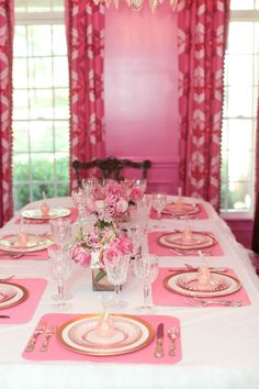 Each Place Setting Has A Pink Pear Candle