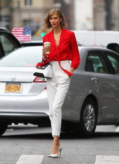 Red blouse is perfect for male attention