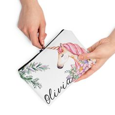 Personalized Unicorn Pouch Unicorn Pencil Case, Presents For Girls, Travel Toiletries, Toiletry Bag, Kid Names, Kids Girls, Pouch, Children, Gifts