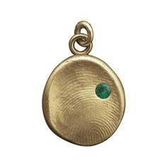 14 Karat Solid Gold Fingerprint Impression Pendant with Genuine Emerald / May Birthstone by LuxeDesignJewellery on Etsy