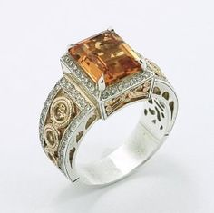 Gorgeous Two Tone Citrine Ring by metalandstoneelite on Etsy