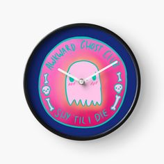 'Awkward Ghost Club' Clock by pixelpixelpixel Quartz Clock Mechanism, Hand Coloring, Clocks, Art Prints, Printed, Metal, Awesome, Frame, Modern