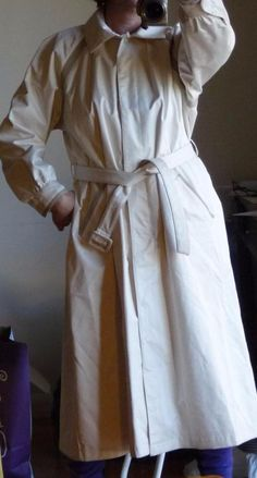 Valentino Ivory Waterproof Belted Trench Rain Coat Linen Look Trim Sz 10 M Mint | eBay
