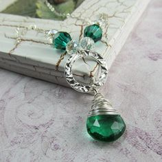 Emerald Quartz Briolette Wire Wrapped Hammered Sterling Silver Necklace by BeadedEmbellishments on Etsy