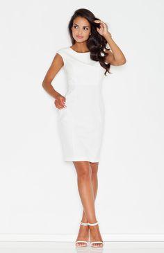 Robe fourreau blanc écru idéale pour un cocktail ou pour le bureau