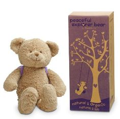 """Peaceful Explorer Bear by PartyLite™....A pouch of natural lavender tucked inside his cute backpack helps lull little ones to peace. 10½""""h."""