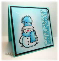 Penny Black's Snowy in Blue by Whimsey - Cards and Paper Crafts at Splitcoaststampers Stamps: Penny Black Snowy, PTI Holiday Button Bits, PTI Double Cuts die