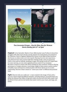 Two great Small Group Devotionals - Unglued and Fight. Unglued is a women's group devotional that helps us to think before we speak and choose words of love. Fight is a men's group devotional that shares the warriors of the Bible and insight into the warriors God has called them to be.