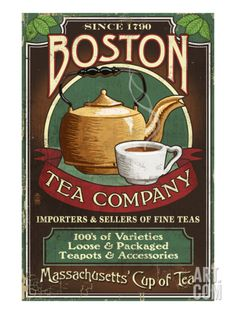 Boston, Massachusetts - Boston Tea Print by Lantern Press at Art.com