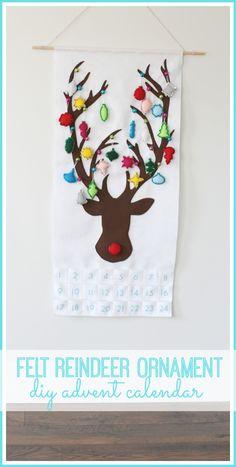 make your own felt Reindeer Ornament Advent Calendar - so cute! count down until christmas - - Sugar Bee Crafts : make your own felt Reindeer Ornament Advent Calendar - so cute! count down until christmas - - Sugar Bee Crafts Advent Calenders, Diy Advent Calendar, Bee Crafts, Crafts To Sell, Sell Diy, Decor Crafts, Christmas Sewing, Christmas Crafts, Christmas Ideas
