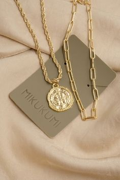 18K Gold Filled Gold Coin Rope Chain Necklace