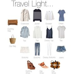 Travel Light... your whites, blues and tan. Easy mix and match oufits