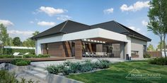 HomeKONCEPT_26_zdjęcie_1 Modern Bungalow House Plans, Bungalow Haus Design, Modern Bungalow Exterior, Modern Family House, Modern House Facades, Modern House Design, Style At Home, Three Bedroom House Plan, House Design Pictures