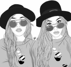 Outline Girl Drawings Tumblr Glasses | bff, drawing, outline, sister, tumblr - image #3982431 by ...