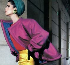 Guy Bourdin for American Vogue, June 1987. Clothing by Yves Saint Laurent Rive Gauche.