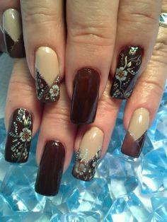 Shades of Brown Nail Design