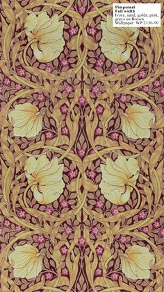 """Pimpernel"" designed by William Morris in 1876. (I'm considering this paper, in this colourway, for the front parlour)"