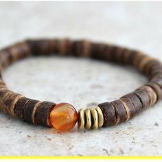 Orange Carnelian Agate Mens Bracelet Yoga Bracelet, Carnelian Jewelry, Coconut Bead, Energy Meditation Bracelet, Yoga Gifts, Father Bracelet