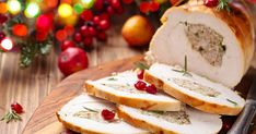 Low FODMAP turkey roulade with herb and nut stuffing recipe - Monash Fodmap Diabetic Recipes For Dinner, Mexican Food Recipes, Diabetic Drinks, Turkey Roulade, Confort Food, New Year's Food, Food La, Deli Food, Turkey Chicken