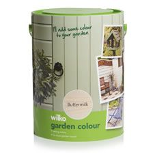Give your wood a fresh lick of paint with Wilko Garden Colour 5 litre in Buttermilk. Our garden colour has been specially developed to transform planed and rough sawn garden timber and provide all weather protection. It's based upon a tough water based formulation and contains pigments and waxes to resist ultraviolet and water attack. It's also suitable for use on primed metal and prepared masonry.<BR><BR>Apply by brush. Not suitable for use on decking. <BR><BR&gt...