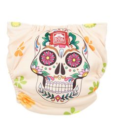 Another great find on #zulily! Orange Floral Skull Cloth Diaper - Infant #zulilyfinds