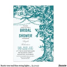 Rustic tree teal blue string lights bridal shower card teal blue cute and rustic bridal shower invitation featuring old oak tree decorated with hanging string of lights. Perfect invite for bridal shower with tree theme, outdoor bridal shower with twinkle light accents or just for rustic country bridal shower in the ranch. Please contact me if you need help with customization, need more products or have a custom color request.