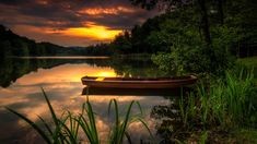 HD wallpaper: Landscape Nature Sunset Orange Sky Forest Lake Boat Green Grass Reflection In Water Desktop Wallpaper Hd 5200×2925