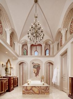 """Mediterranean Master Bath with the """"wow"""" factor. Love it or hate it, it definitely has 'wow'..."""