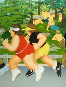 Women Running- signed limited edition silkscreen print by comic artist Beryl Cook from CCA Galleries. Dan Baldwin, Maggi Hambling, Jeremy Deller, Beryl Cook, Plus Size Art, Peter Blake, Fat Art, Funny Sexy, English Artists