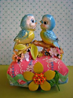Kitsch vintage bluebirds via elizabeth holcombe. typepad