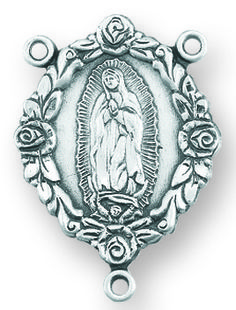 Sterling Silver Our Lady of Guadalupe Rosary Center