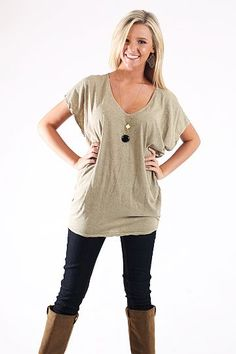 Vintage Loose Tee, Beige $30.00 This top is COMFY! From the baggy fit to soft material, you will not regret buying this one. Just toss is on with leggings and or skinnies..either will do. We added a simple necklace to top off our look:)   Fits true to size. Jordan is wearing the small
