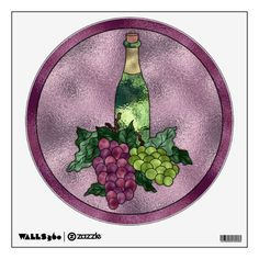 Wine Wine WIne (Edit)  Great wall decal for the home or business featuring a highly detailed graphic design that resembles stained glass with a pale purple background accented with a bottle of wine and 2 bunches of grapes. Plenty of space to personalize with the text of your choice. 12x12