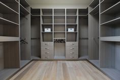 Brilliant Luxurious Home in Modern Interior Design: Fabulous Laurel Walk In Closet Design With Grey Painted Cabinets And Shelves To Keep Fas. Walk In Closet Design, Bedroom Closet Design, Master Bedroom Closet, Wardrobe Design, Closet Designs, Bathroom Closet, Dressing Design, Walking Closet, Closet Layout