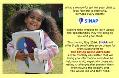 Sign up for a free subscription to The Eating Game Advocate, a monthly newsletter  https://www.facebook.com/TheEatingGame/app_100265896690345  Learn more about SiNAP at www.sinapbox.com
