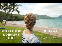 French braid tucked updo hairstyle tutorial in curly hair -