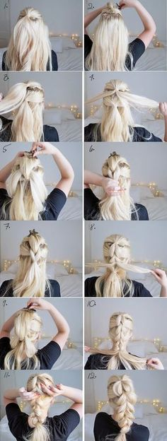 The chunky braid easy hairstyles step by step hairstyles hairstyle tu Step By Step Hairstyles, Diy Hairstyles, Pretty Hairstyles, Hairstyle Tutorials, Perfect Hairstyle, Braids Step By Step, Hairstyle Ideas, Long Hair Easy Hairstyles, Easy Hair Braids