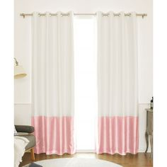 Best Home Fashion Ivory & Light Pink Color Block Blackout Panel ($42) ❤ liked on Polyvore featuring home, home decor, window treatments, curtains, color block curtains, cream curtains, black out curtains, ivory blackout curtains and grommet blackout curtains