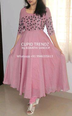 Silk Kurti Designs, Churidar Designs, Kurta Designs Women, Kurti Designs Party Wear, Indian Gowns Dresses, Indian Fashion Dresses, Indian Designer Outfits, Designer Dresses, Girls Dresses Sewing