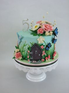 A Sweet Purpose - Enchanted Garden themed birthday cake. Smooth...