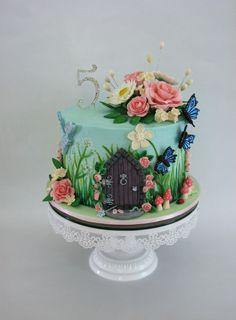 A Sweet Purpose - Enchanted Garden themed birthday cake. Smooth...