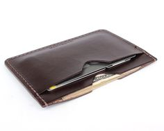 Dark brown bridle leather flat wallet by Tagsmith