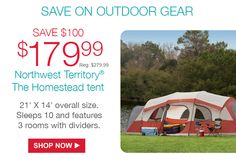 179.99 Reg $279.99  Northwest Territory® The Homestead tent 2139; X 14
