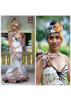 An ethnically inspired pageant costume using Fiji and Tongan traditional materials designed by Hupfeld Hoerder