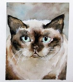 Chat à la peinture aquarelle #chat #aquarelle Creations, Owl, Bird, Cats, Animals, Watercolor Cat, Easy Watercolor, Watercolor Painting, Watercolour Paintings