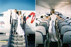 I would love to go straight from the wedding to the plane! Maybe change into something more comfotable than my wedding dress - but keep on the veil!! If that's not possible,I might just have to get my hair done with my veil a 2nd time - just for the honeymoon plane trip! <3