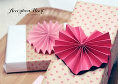 HAND MADE: Accordian Heart Gift Toppers